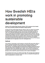 How Swedish HEI:s Work in Promoting Sustainable Development