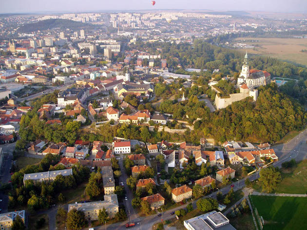 Nitra, Slovakia from above in sunset