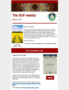 Example of BUP weekly