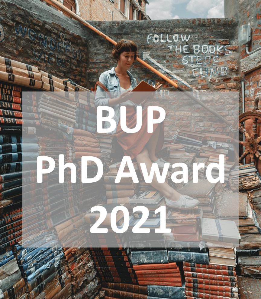 BUP PhD award 2021, Women reading books on a pile of books.